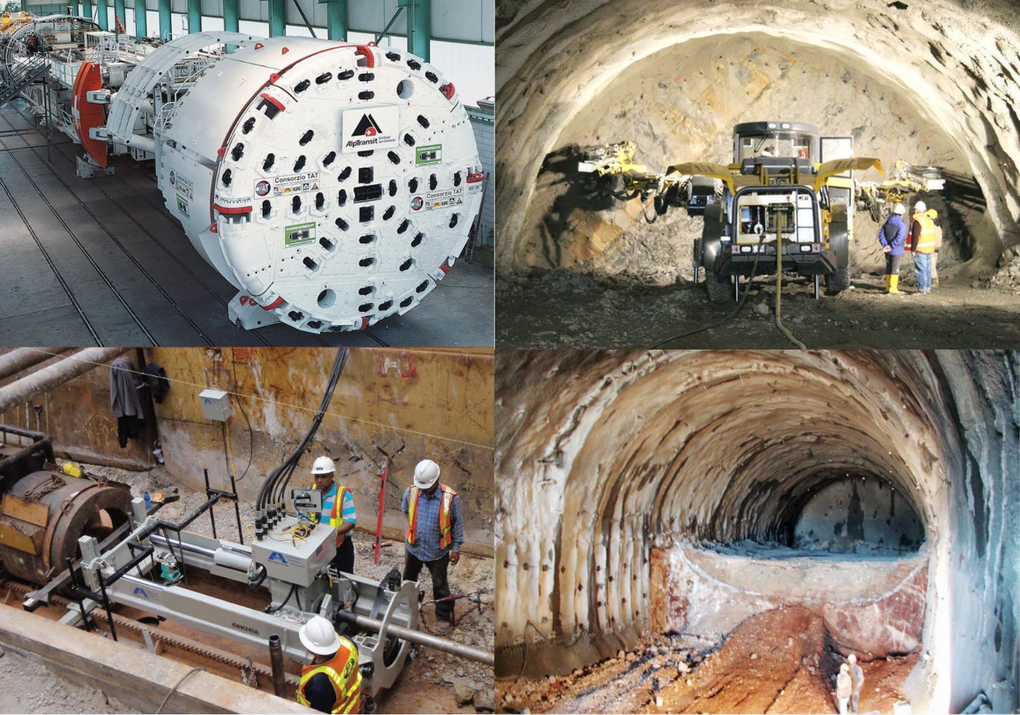 Tunneling methods (clockwise from top left): TBM, Drill and Blast, SEM and MTBM. Images obtained from Heitkampt-swiss.ch, Akkerman.com and Hoek et al., 2007.